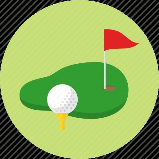 exercise, flag, golf, golf ball, golf course, grass, sport icon