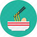 bowl, food, meat, noodles icon