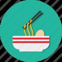 bowl, food, meat, noodles