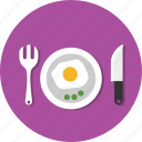 breakfast, egg, fork, knife, plate, spoon icon