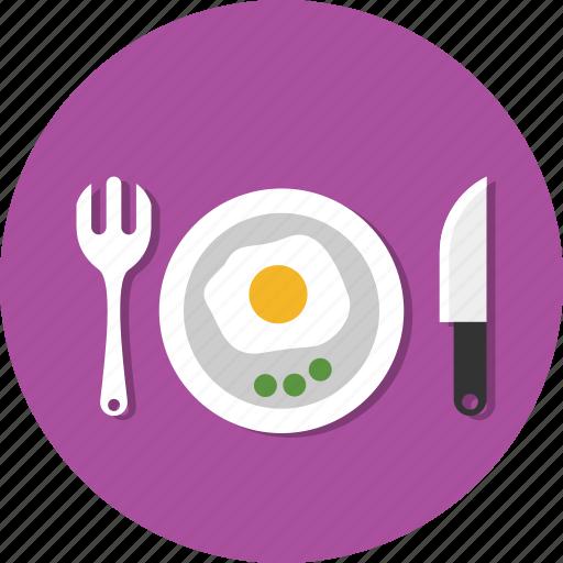 breakfast, egg, fork, knife, plate, spoon icon