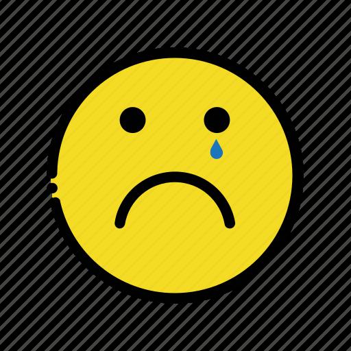 cry, dull, emoji, gloomy, sad icon