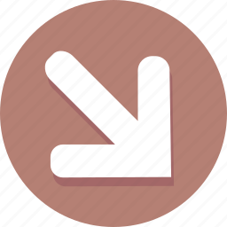 arrow, corner, direction, down, navigation, pin, right icon