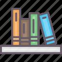 accessories, books, bookshelf, home icon