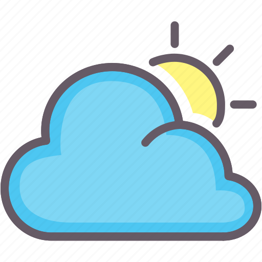 cloudy, overcast, sun, weather icon