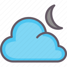 cloud, moon, night, weather icon