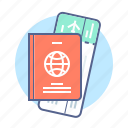 passport, ticket, tourism, travel, trip icon