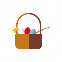 basket, easter, eggs, flower, gift, holidays, religion icon