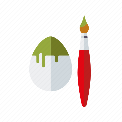 coloring, easter, egg, holidays, paintbrush, painting, tradition icon