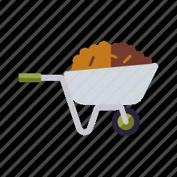 agriculture, dung, equipment, farm, farming, wheelbarrow icon