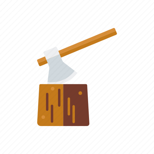 agriculture, axe, chopping block, farm, logwood, wood icon