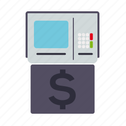 atm, bank, display, finance, machine, money, transaction icon