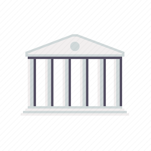 bank, building, columns, finance, money, stock exchange icon