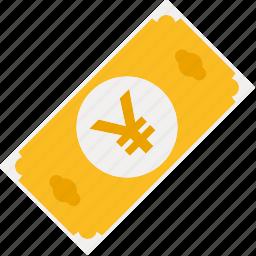 bill, cash, currency, finance, japanese, money, yen icon