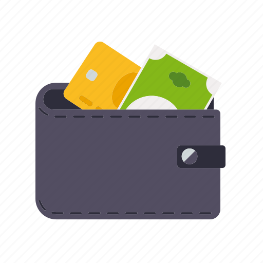 bill, credit card, finance, leather, money, wallet icon
