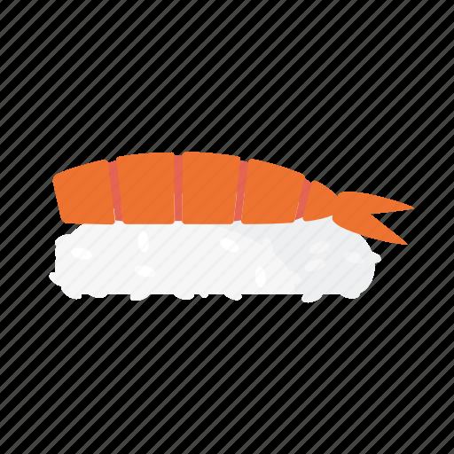 food, japanese, nigiri, prawn, rice, shrimp, sushi icon