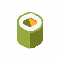 caviar, food, green, japanese, roll, sushi icon