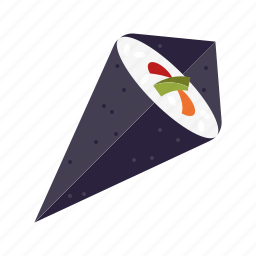cone, food, japanese, mixed, rice, sushi, wrap icon