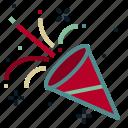 celebration, christmas, cone, confetti, decoration, new year, surprise icon