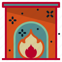 christmas, fire, fireplace, holiday, winter icon
