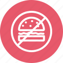 burger, forbidden, hamburger, junk food, prohibition icon