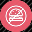 burger, forbidden, hamburger, junk food, prohibition
