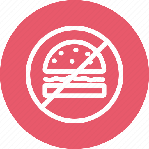 burger, forbidden, hamburger, junk food, prohibition icon