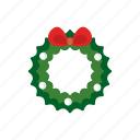 bow, christmas, decoration, holiday, leaves, ornament, wreath icon