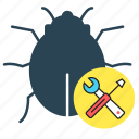 bug, bug tracking, quality analysis, setting, testing, tool icon