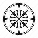 compass, line, north, outline, rose, travel, wind icon