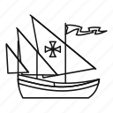 boat, columbus, day, hand, line, outline, ship icon