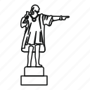 christopher, columbus, line, outline, sculpture, statue, travel icon