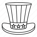 day, hat, line, outline, sam, uncle, usa icon