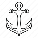 anchor, line, marine, nautical, old, outline, secure icon