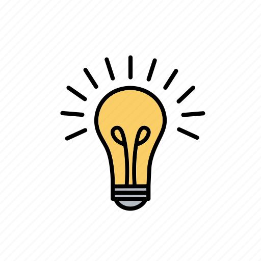 bright, creative, idea, lamp, light bulb, office, work icon