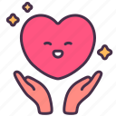 self-care, empathy, love, giving, heart, comforting, hands icon