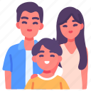 children, family, father, happiness, kid, life, mother icon