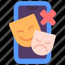 avoid, drama, negative, no, smartphone, social icon