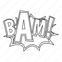 art, bam, comic, explosion, line, outline, thin icon