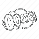 cloud, explosion, line, ops, outline, thin, word icon