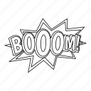 boom, comic, explosion, line, outline, power, thin icon