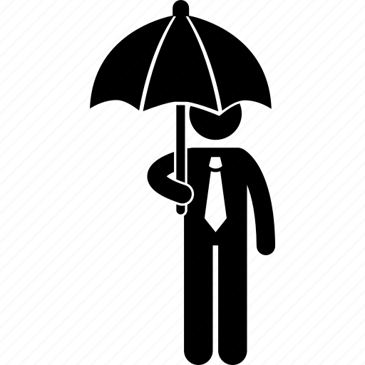 business, businessman, man, person, protection, raining, umbrella icon