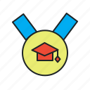 academic, degree, distinctive mark, education, graduation, mba, medal icon