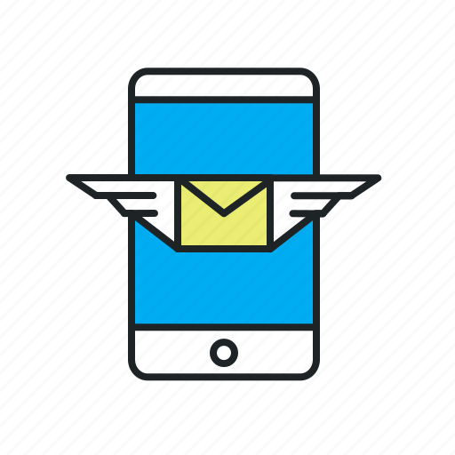 email, message, mobile, notification, receive, subscription, updates, wings icon