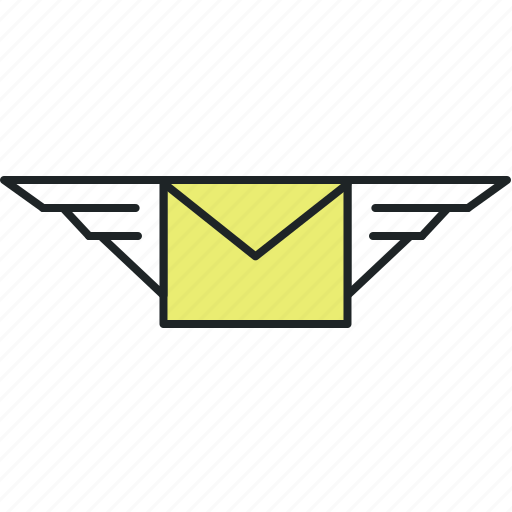 mail, message, notification, send, sms, subscribe, updates, wings icon
