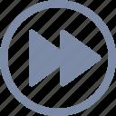 arrow, fast, forward, go, play, skip icon