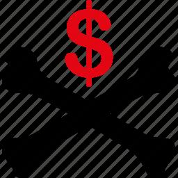 bad debt, bankrupt, budget, crash, money, problem, warning icon