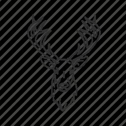 buck, cervidae, deer, deer head, male deer, mounted buck, mounted deer icon