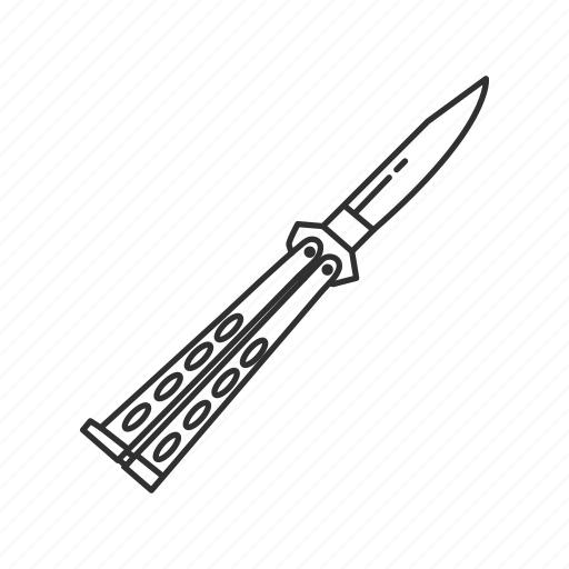 blade, butterfly knife, hunting, knife, melee, switchblade, weapon icon