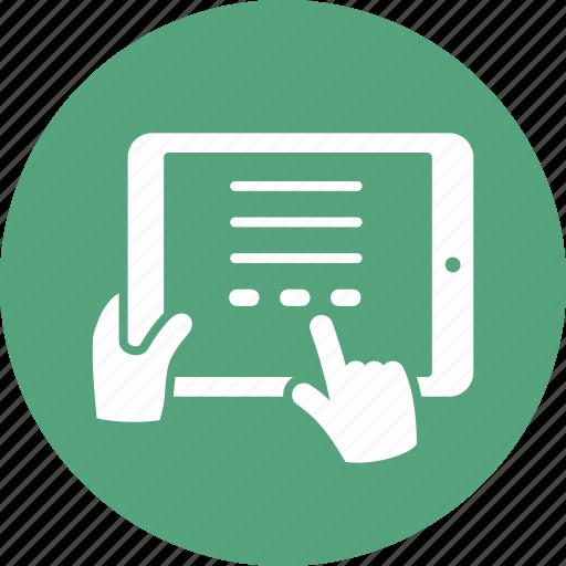ipad, reading, tablet icon